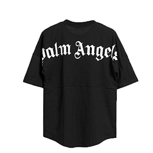 Maglietta da uomo e da donna Palm Angel a maniche corte, casual, con scollo rotondo, in cotone (Unsex Black, M)