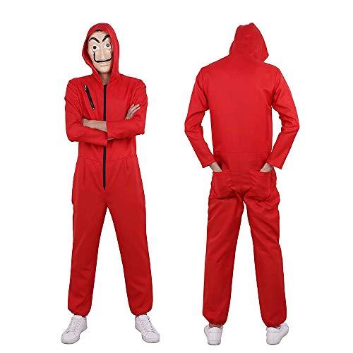 ALBRIGHT Unisexo Disfraz de Cosplay para Adulto + Máscara de Dali para La Casa De Papel,Mono Rojo Careta Disfraces de Ladrón Salvador Dalí para Carnaval Navidad Halloween M:170-175cm
