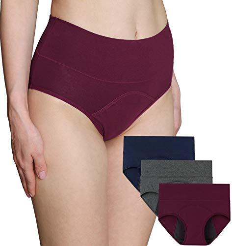 INNERSY - Bragas absorbentes para mujer de cintura alta, de algodón, para la menstrual, para la lencería, postparto, paquete de 3 unidades Blu Navy/Grigio/Vino-rivestimento Scuro 36