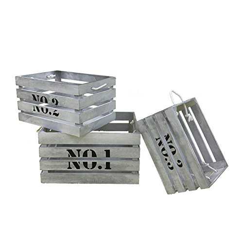 Rebecca Mobili Set 3 Cassette Industrial, ceste contenitori di Legno, Bianco, per Camera Sala Garage...