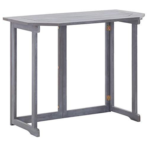 SKM Tavolo da Balcone Pieghevole 90x50x74 cm in Massello di Acacia