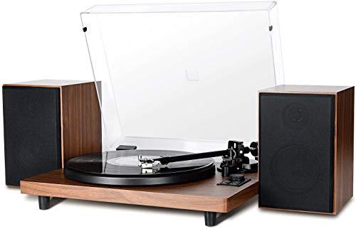 Platine Vinyle Tourne-Disque Bluetooth, avec Chaîne compacte Stéréo Système Hi-FI Intégré Enceintes 36W,Record LP à PC,Sortie RCA,Style Vintage en Bois avec Cartouche Magnétique