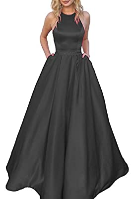 Elegant halter neckline, A-line silhouette, beaded, floor length, invisible bra inside, corset lace up back, fully lined, boned Fashion halter formal gown with beads and crystals decorated on waistline. Popular design with pockets. It's a great choic...