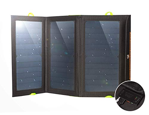 Ryno Tuff Solar Charger with Built-in Battery Power Bank, 21W Dual USB, Compact, Durable and Waterproof, Portable Solar Panel Battery Charger for Cellphones, Tablets, and Electronics, While Camping