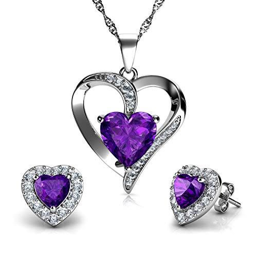 DEPHINI - Purple Heart Necklace & Heart Earrings SET - 925 Sterling Silver - Crystal Studs & Pendant Birthstone- Fine Jewellery set for women - 18