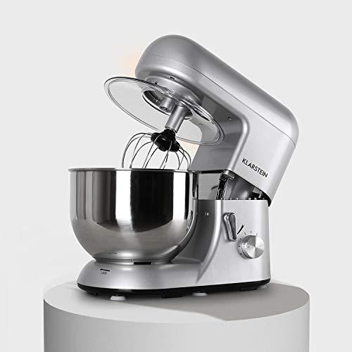 Klarstein Bella Argentea - Küchenmaschine, Rührmaschine, 5,2 Liter-Rührschüssel, Knetmaschine mit 1300 Watt, 6-stufige Geschwindigkeit, Edelstahlschüssel, silber