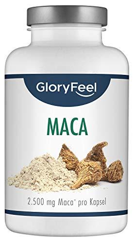 GloryFeel® Maca 2500mg Kapseln Hochdosiert - 200 vegane Kapseln - Original Maca-Wurzel Extrakt aus Peru PLUS Vitamin B12 - Laborgeprüfte Herstellung ohne Zusätze in Deutschland