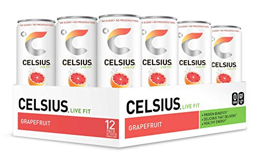 CELSIUS Sweetened with Stevia Sparkling Grapefruit Fitness Drink, Zero Sugar, 12oz. Slim Can, 12 Pack