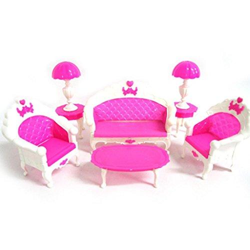 GOOD01, accessorimini per casa di Barbie, accessori, mobili, divano, lampada da tavolo, colore rosa