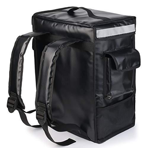 配達バッグ 42L 大容量 100%防水 デリバリー バッグ リュック 保冷リュック 宅配 バッグ ピザ 寿司 ポーチ 保温 保冷バッグ 配達 パッケージ [ブラック] 日本語取扱説明書付き