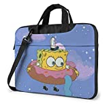 Maletín para Ordenador portátil Magic Spongebob de 14 Pulgadas, maletín de Negocios para Hombres y Mujeres, Bandolera de Hombro, Funda para Ordenador portátil, Bolsa de Transporte