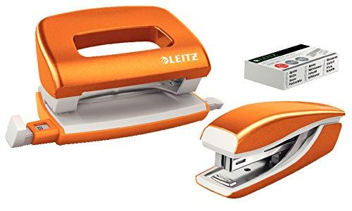 Leitz Kit mini cucitrice e mini perforatore, Capacit fino a 10 fogli, Punti inclusi, Arancione...
