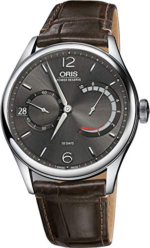Oris Culture Mens Manual Winding Date Wrist Watch Analog 43 mm Round Grey Dial with Sapphire Crystal and Brown Leather Band 100m Water Resistant Business Genuine Luxury Watches - for Men 1