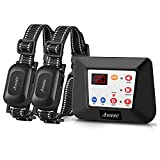 Aweec Wireless Dog Fence System for 2 Dogs,2021 Upgraded 2-in-1 Training Collar with Remote,Dog Boundary System, Waterproof Dog Wireless Fence, Adjustable Pet Training Collar, Harmless Dogs