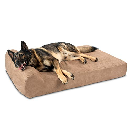 Big Barker 7' Orthopedic Dog Bed with Pillow-Top (Headrest Edition) | Dog Beds Made for Large, Extra Large & XXL Size Dog Breeds | Removable Durable Microfiber Cover | Made in USA