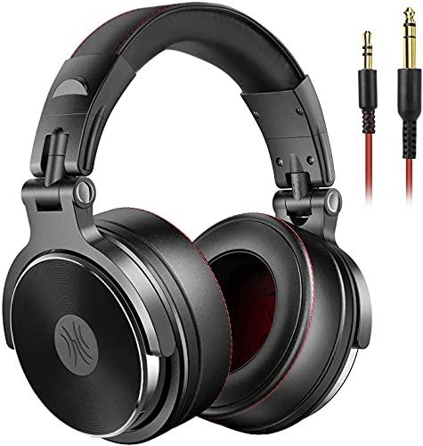 OneOdio Hi-Res Certificato Cuffie DJ, Cuffie monitor studio, Cuffie Over-Ear con microfono, Cuffie chiuse senza adattatore da 6.3 mm e 3.5 mm, Custodia ruotabile a 90 e Unit driver 50mm