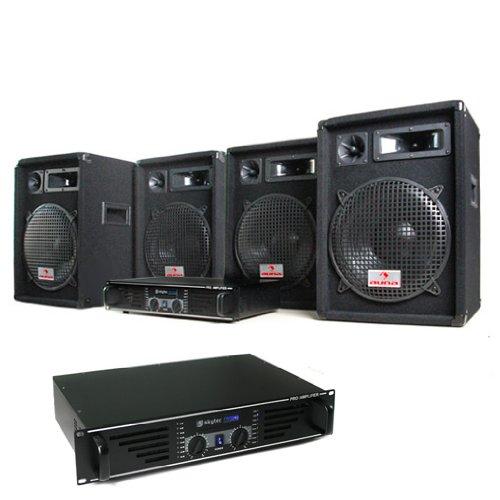elektronik star DJ PA Komplettset Marrakesch Lounge Pro (2X 480W PA Verstärker, 4X 400W Boxen)