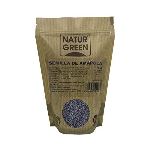 NaturGreen - Semillas de Amapola, Amapola Azul, Semilla Natural, Omega-3 y Omega-6, Vitaminas B, E y C, 100% Ecológico - 175g