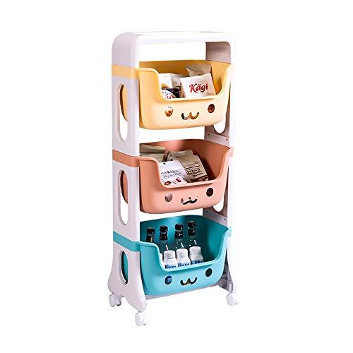 RMAN® Aufbewahrungsregal Kinder 39.5x25x95cm Spielzeugregal Kinderzimmer Kinderregal mit Rollen Lagerwagen Kinderkommode Spielzeug Multi Toy Organizer für Wohnzimmer, Schlafzimmer