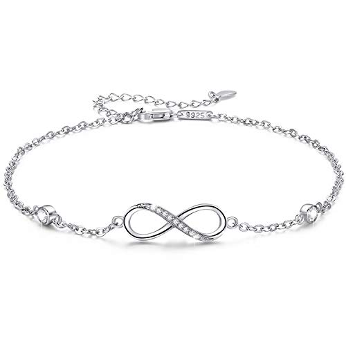 MEDWISE Womens Infinity Anklet Bracelet 925 Sterling Silver Endless Love Symbol Ankle Bracelet Adjustable Plus Size Large Bracelet Gifts for her Valentines Day Mother's Day Gifts