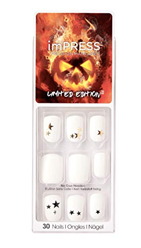 Kiss ImPress Press-On Manicure White Short Length Nails BIPA259X Faraway Stars (Star Design) Halloween Limited Edition
