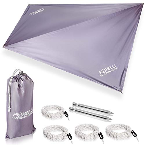 Foxelli Rain Tarp – Lightweight, Portable, Waterproof 12' Camping Tarp, Easy Set Up with Included Extra Long Guy Lines & Stakes - Perfect Rain Fly for Hammock