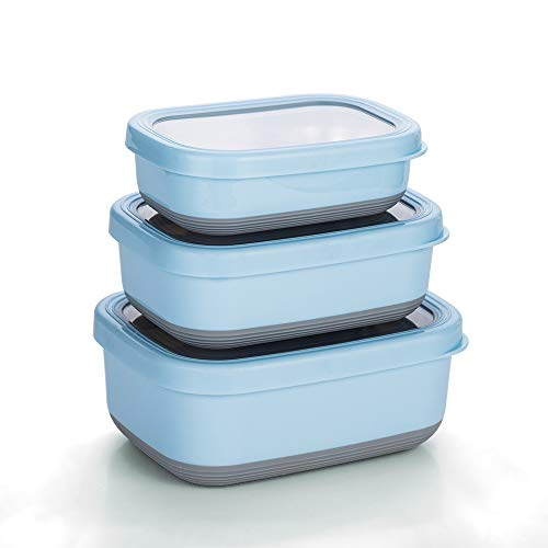 Lille Home Premium Stainless Steel Food Containers/Bento Lunch Box With Anti-Slip Exterior, Set of 3, 470ml, 900ml,1.4L, Leakproof, BPA Free, Portion Control, Perfect Holiday Gift (Blue)