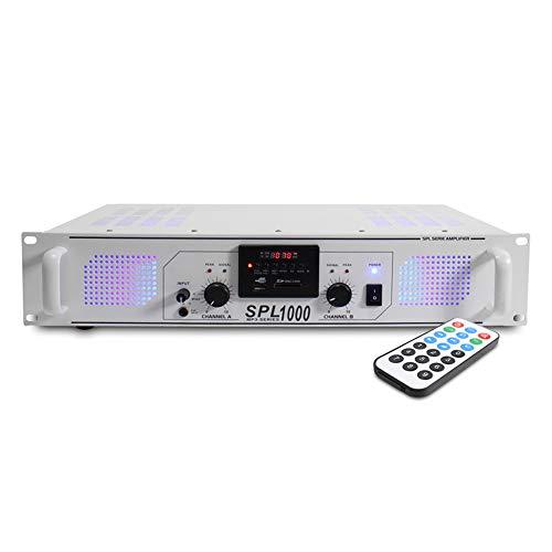 Skytec SPL-1000MP3 White Stereo Power Amplifier Home HiFi 19 Inch Rack Mount PA DJ Amp with MP31000W