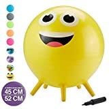 Gaiam Kids Stay-N-Play Children's Balance Ball - Flexible School Chair Active Classroom Desk Alternative Seating | Built-In Stay-Put Soft Stability Legs, Includes Air Pump, 45cm, Yellow Smiley