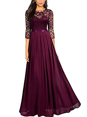 SIZE RECOMMEND: US 4/6(Small), US 8/10(Medium), US 12/14(Large), US 16(X-Large), US 18(XX-Large) Suit for Wedding Party, Evening Club and Outdoor. Vintage Lace Pattern,See-Through Design,Contrast Different Fabric. 2/3 Sleeve, Long Style Dress, Elegan...
