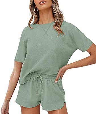 Size Attention: S=US 4-6, M=US 8-10, L=US 12-14, XL=US 16. Please check the size chart before ordering. Soft fabric shapes this cozy loungewear with a round/v neckline, short sleeves, and relaxed-fit waffle knitted top throughout. Matching shorts boa...