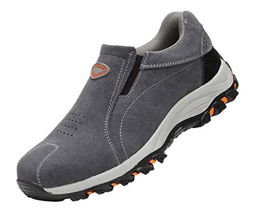Calzado Deportivo Zapatos de Seguridad Hombre Al Aire Libre Trabajando Slip-On Transpirable Punta de Acero Industria Casual Zapatillas Gris 42 EU