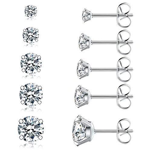 5 Pairs Stud Earrings Set, Hypoallergenic Cubic...