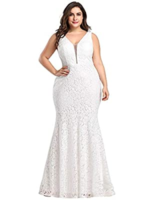 """Padded enough for """"no bra"""" option Features: double V-Neck, floral lace bodice, bodycon mermaid dress, floor length maxi dress Perfect as bridesmaid dresses, wedding dresses, wedding guest dresses, evening dresses, formal dresses.etc Women's plus size..."""