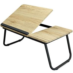 Folding Laptop Lap Desk - Wooden Work Table and Stand for Couch, Bed and Sofa Computer Use - Folding Legs, Adjustable Tilt - Use as Reading and Breakfast Tray - by Designstyles (Black and Black)