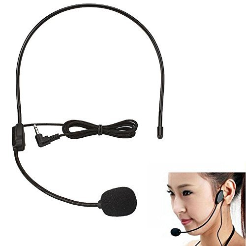 HKeCart - Wired 3.5mm Stereo AUX Audio Flexible Headset/Headworn Microphone-Voice Amplifier for Teachers, Tour Guides, Coaches and More