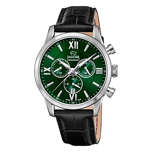 JAGUAR J884/3 Herren-Armbanduhr aus der Kollektion Acamar, 41,5 mm, grünes Gehäuse mit schwarzem Lederarmband