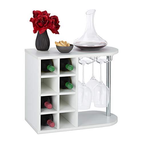 relaxdays Scaffale Portabottiglie, Grande, con Porta Calici, Cantinetta per 8 Bottiglie HxLxP: 42 x 52 x 28 cm, Bianco, Truciolato