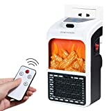 Programmable Space Heater with LED Display Screen and Fireplace Flame Effect, Portable Wall Outlet Electric Heater with Adjustable Thermostat and Timer for Home Office Indoor Use, 400 Watt ETL Listed