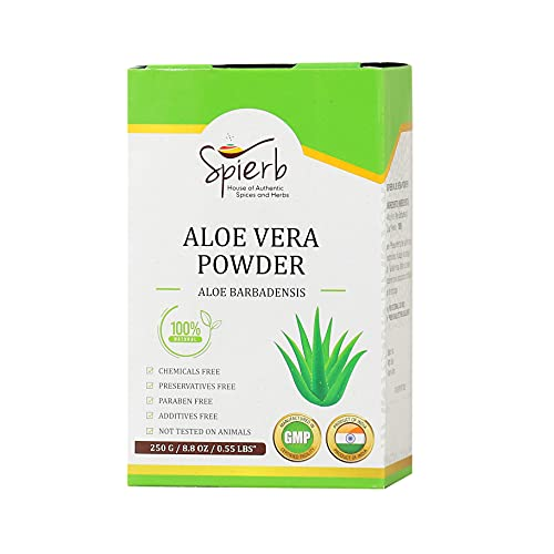 Spierb Aloe Vera polvere - 250gm - 100% Powder naturale per la crescita dei capelli - idratante naturale per la pelle - polvere di erbe di Aloe Vera senza sostanze chimiche