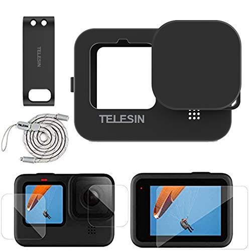 TELESIN Kit di accessori per GoPro Hero 9, custodia protettiva siliconica + 4 pellicole protettive per lo schermo+2 pezzi display HD protettore dell'obiettivo+1 copertura della batteria per Hero 9