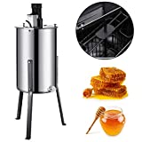 Happybuy Electric Honey Extractor Stainless Steel Honeycomb Drum Spinner Beekeeping Equipment with Strainer, 2 Frame