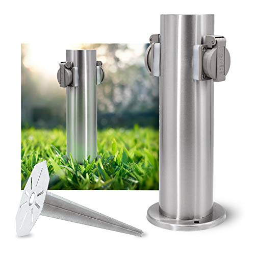 SSC-LUXon Set aus Gartensteckdose Energiesäule & Universal Erdspieß Stahl feuerverzinkt - Steckdosensäule Edelstahl gebürstet