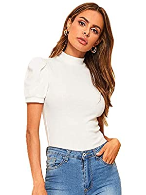 Material: 25% Cotton,70% Polyester,5% Spandex,Fabric is very stretchy Features: Mock Neck Blouse,solid work blouse,Stretchy and Slim Summer blouse shirt,you can pair it with jeans or shorts Puff Sleeve with Pleated Design,super cute and stylish Pleas...