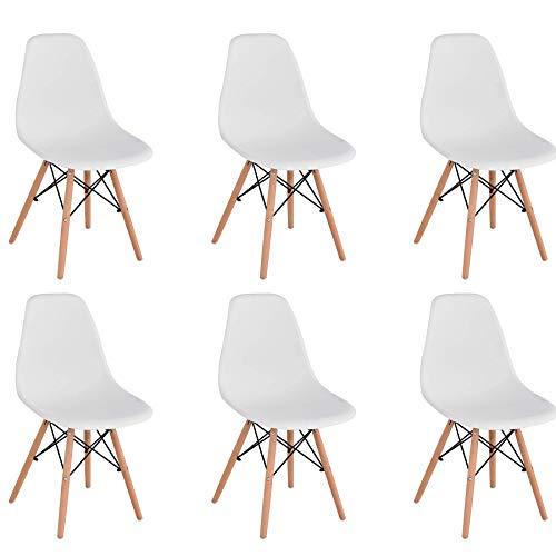 BenyLed Set di 6 Sedie da Pranzo in Plastica Stile Retr per Sala da Pranzo, Cucina, Ufficio, Ristorante, ecc. (Bianco)