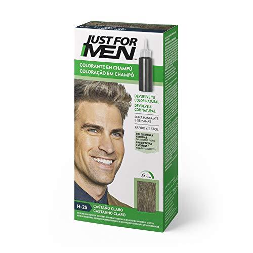 Just for men, Tinte Colorante en champú para el cabello del hombre - Elimina las canas y rejuvenece el cabello en 5 minutos, Castaño Claro, 30 ml, H25 (8413853401016)