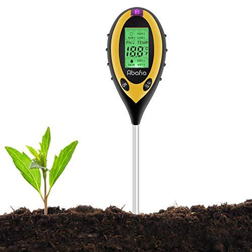 Abafia Tester del Suolo, 4 in 1 Misuratore di PH del Terreno umidità, PH, Luce Solare, Temperatura,Analizzatore di Suolo per Giardino, Piante, Fattoria, Interni ed Esterni