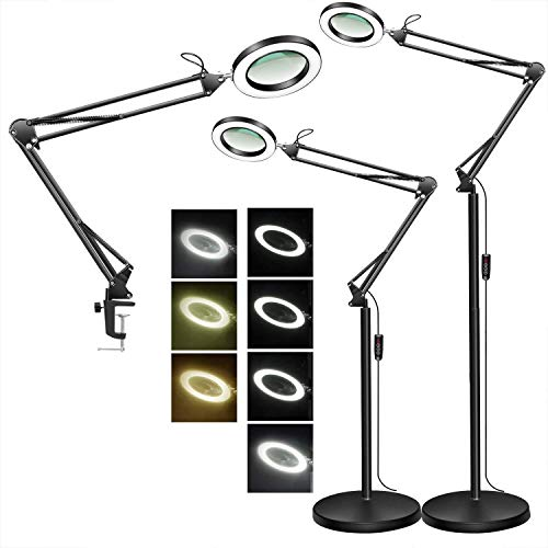 TOMSOO Magnifying Floor Lamp with Clamp, 3 Color Modes, 10 Levels Dimmable, 5-Diopter Real Glass Magnifier Lens, Adjustable Stand & Swivel Arm LED Light for Reading Sewing Crafts Close Work - Black