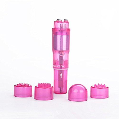 ROSENICE Mini-Massagegerät tragbaren Personal vibrierende Ganzkörper Massagegeräte mit 4 Heads(Pink)