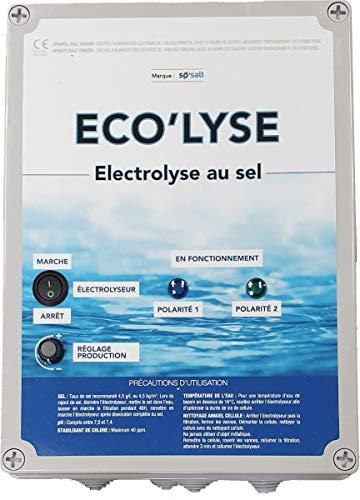 ByPiscine - Electrolyseur au sel pour Piscine jusqu'à 60 m3, 4 GR/L, Production 11 GR/L, modèle Eco'lyse 60 de